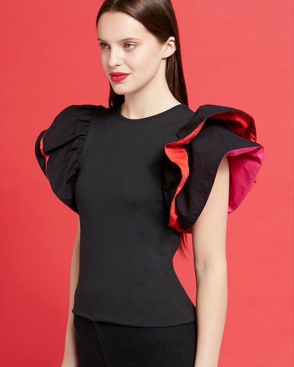 Savida Contrast Woven Sleeve Top