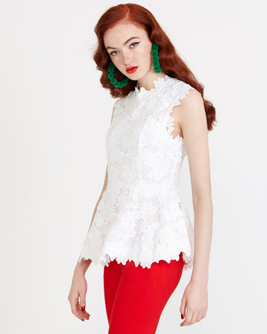 optic-whit Savida Lace Peplum Top