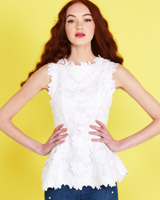 white Savida Lace Peplum Top