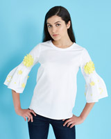 optic-whit Savida 3D Flower Sleeve Top