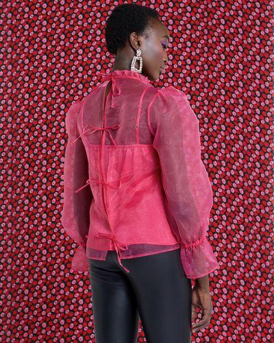Savida Rose Chiffon Top With Tie Back