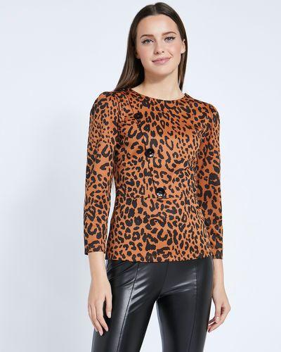 Savida Leopard Print Button Top