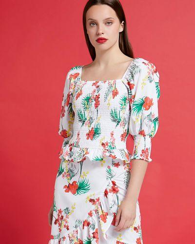 Savida Puff Sleeve Shirred Print Top