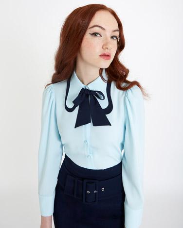 light-blueSavida Tie Collar Blouse