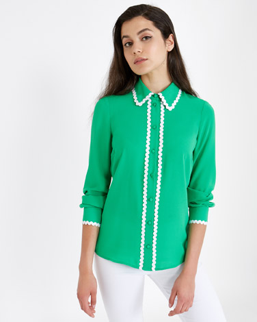 green Savida Rick Rack Trim Blouse