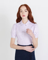 lilac Savida Stripe Short Sleeve Shirt