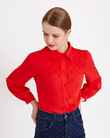 red Savida Diamond Detail Shoulder Shirt