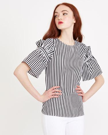 black-whiteSavida Stripe Ruffle Sleeve Top