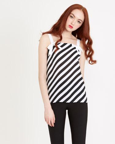 blackSavida Diagonal Stripe Cami