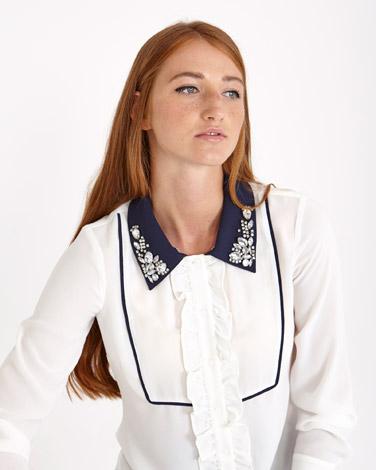 off-whiteSavida Contrast Crystal Collar Blouse