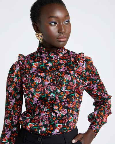 Savida Print Shirred Blouse
