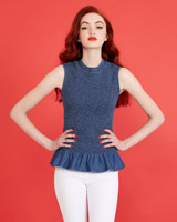 denim Savida Shirred Sleeveless Top