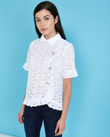 white Savida Crochet Blouse