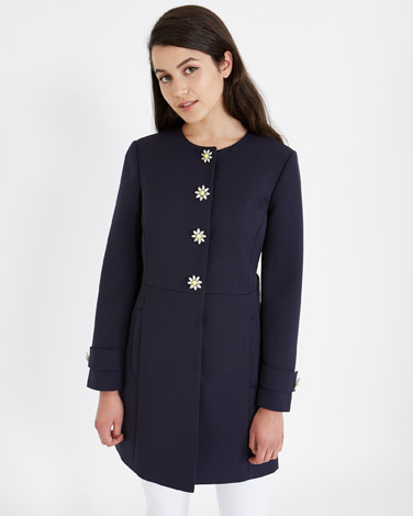 navy Savida Daisy Button Coat