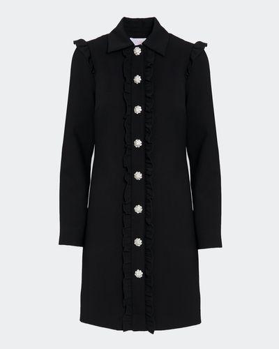 Savida Ruffle Coat With Jewel Buttons