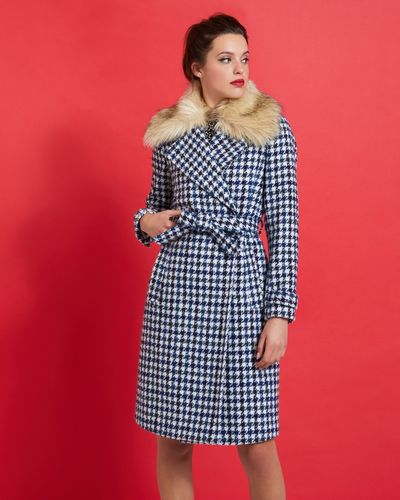 Savida Joanna Blue Flecks Tie Coat thumbnail