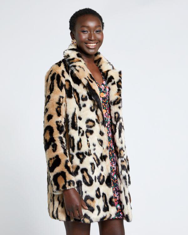 Savida Leopard Print Faux Fur Coat