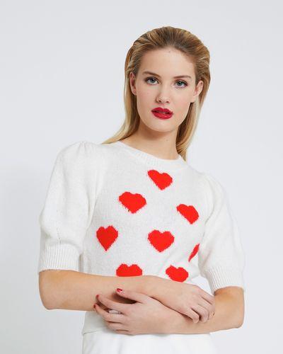 Savida Heart Pattern Puff Sleeve Jumper