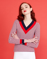 navy Savida V-Neck Stripe Jumper