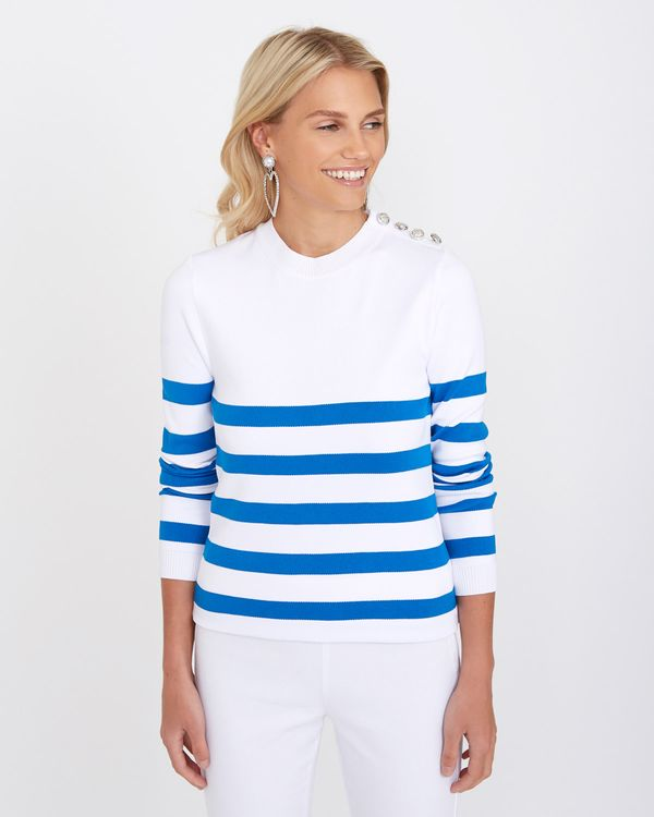 Savida Stripe Shoulder Button Jumper