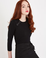 black Savida Three Button Shoulder Jumper
