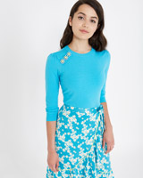 aqua Savida Three Crystal Button Jumper