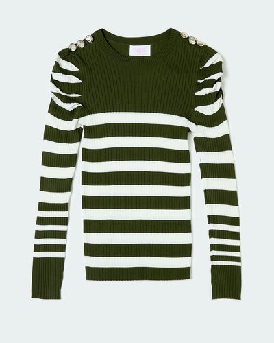 Savida Stripe Button Shoulder Jumper