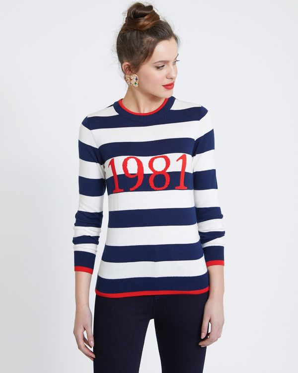 Savida Stripe Slogan Jumper