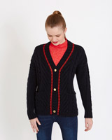 navy Savida Lurex V-Neck Cardigan