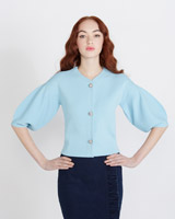 light-blue Savida Crystal Button Cardigan