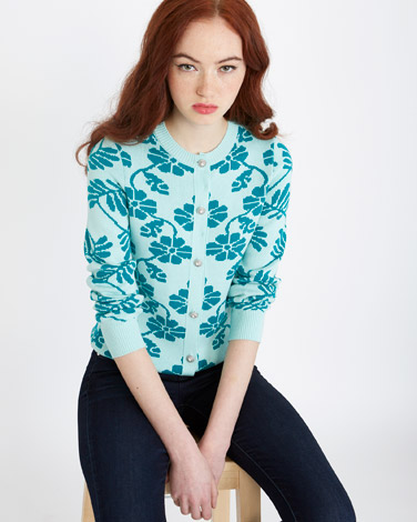 blue Savida Flower Cardigan