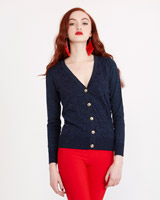 navy Savida Lurex Bubble Cardigan