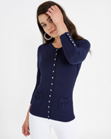navy Savida Daisy Jewel Cardigan
