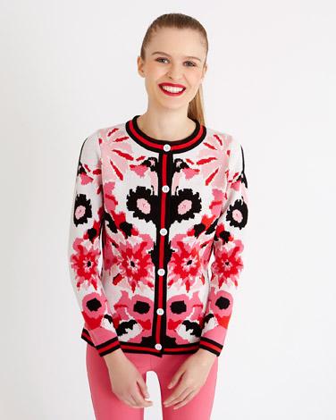 printSavida Wildfire Floral Cardigan