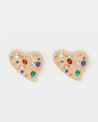 Savida Gold Hearts Earrings With Multicolour Beads