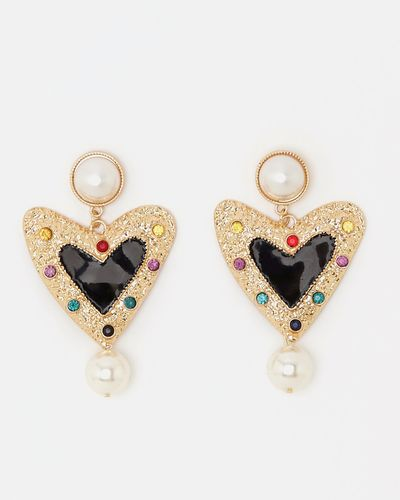Savida Heart Pearl Drop Earrings