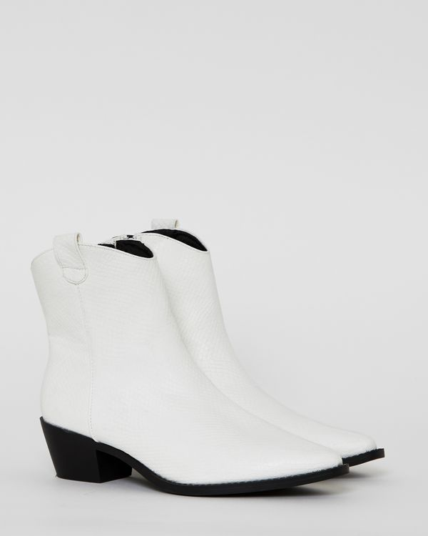 Savida Textured White Boots