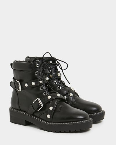 Savida Pearl Buckle Chunky Boot