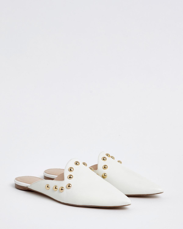 94e29690ed998 Dunnes Stores | White Savida Stud Flat Mule Shoes