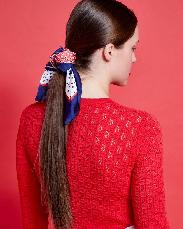 Savida Floral Print Tie Neck Scarf