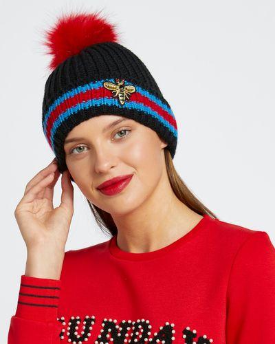 Savida Bee Embellished Stripe Hat thumbnail