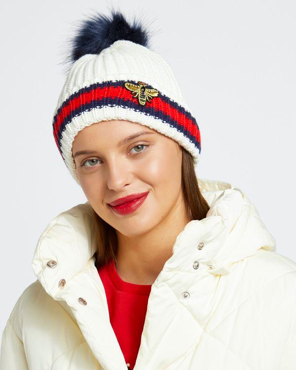 Savida Bee Embellished Stripe Hat