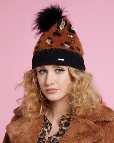 Savida Leopard Print Lurex Hat thumbnail