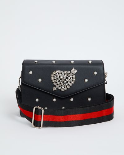 Savida Heart And Pearl Stripe Strap Bag