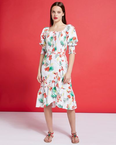 Savida Print Ruffle Button Skirt
