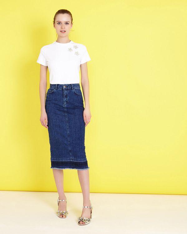 Savida Flounce Midi Denim Skirt