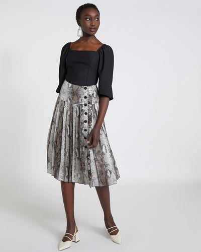 Savida Snake Print Pleated Skirt