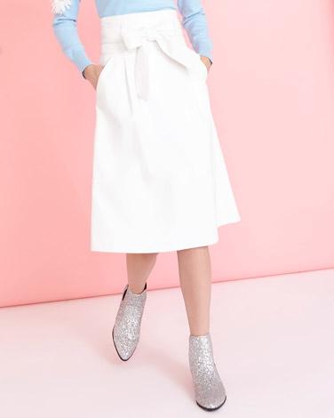 off-whiteSavida PU Belted Skirt