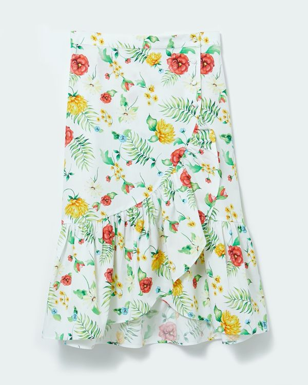 Savida Floral Print Button Skirt