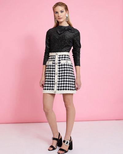 Savida Houndstooth Pattern Skirt thumbnail